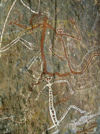 Painting of Dancing Figures at Nourlangie Rock, Australia by Robert Francis