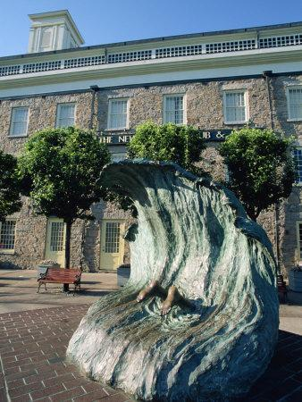 Sculpture Depicting Someone Diving into a Wave, Newport, Rhode Island, New England, USA