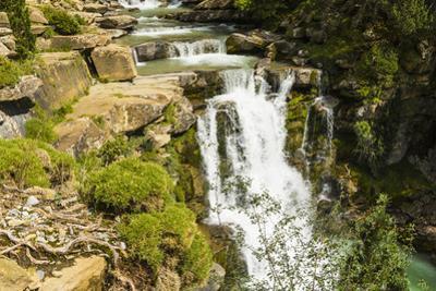 Steps of limestone strata make a waterfall on the Rio Arazas, upper Ordesa Valley, Ordesa National  by Robert Francis