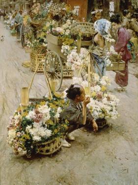 Auf dem Blumenmarkt in Tokyo. 1892 by Robert Frederick Blum