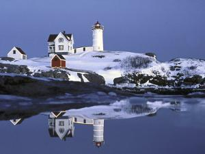 Nubble at Christmas Time in New England by Robert Ginn