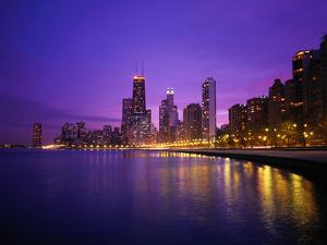 Usa, Illinois, Chicago Skyline and Lake Michigan, Night by Robert Glusic