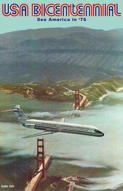USA Bicentennial - Golden Gate Bridge - See America in '76 - McDonnell Douglas DC-9 by Robert Grant Smith