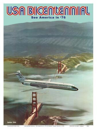 USA Bicentennial - Golden Gate Bridge - See America in '76 - McDonnell Douglas DC-9