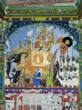Beautiful Mughal Frescos on Walls of the Juna Mahal Fort, Dungarpur, Rajasthan, India by Robert Harding