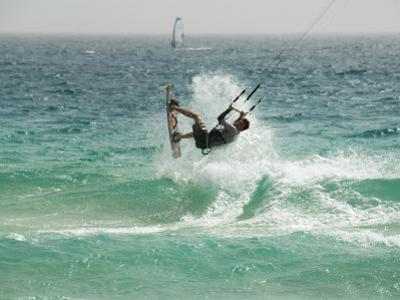 Kite Surfing at Santa Maria on the Island of Sal (Salt), Cape Verde Islands, Atlantic Ocean, Africa by Robert Harding
