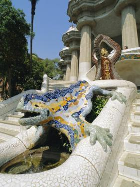 Mozaic Lizard Sculpture by Gaudi, Guell Park, Barcelona, Catalonia, Spain, Europe by Robert Harding