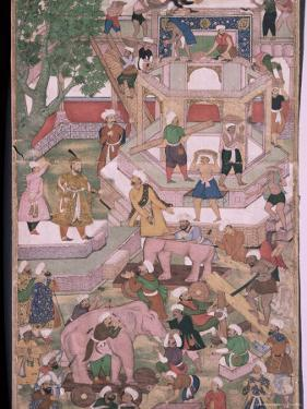 Mughal Miniature Dating from the 18th Century Showing the Construction of a Palace, Pakistan by Robert Harding