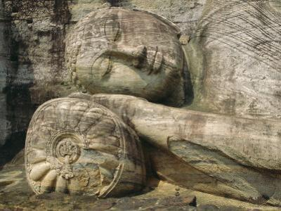 Statue of the Reclining Buddha, Attaining Nirvana, Gal Vihara, Polonnaruwa, Sri Lanka by Robert Harding