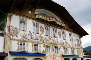 The Famous Painted Houses of Oberammergau, Bavaria, Germany, Europe by Robert Harding