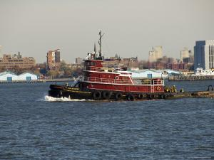 Tug on Hudson River, Manhattan, New York City, New York, United States of America, North America by Robert Harding