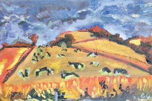 Sun, Fields, Cows: Somerset, 1998 by Robert Hobhouse