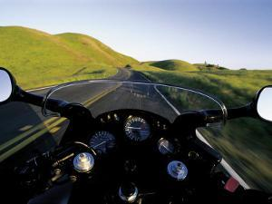 Motorcycle on Road, Marin County, CA by Robert Houser