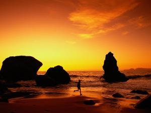 Runner Silhouetted on Beach by Robert Houser