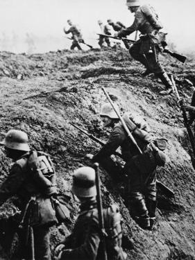 German Soldiers Attacking Out of a Trench During World War I by Robert Hunt