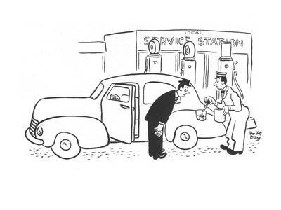 Gas station attendant filling gas tank with eye dropper. - New Yorker Cartoon