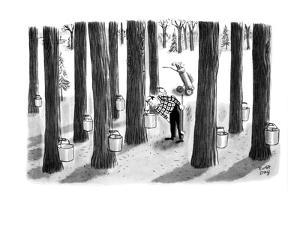 Golfer looks in maple buckets for lost ball. - New Yorker Cartoon by Robert J. Day
