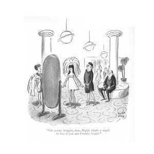 """""""On second thought, dear, Daddy thinks it might be best if you and Freddie…"""" - New Yorker Cartoon by Robert J. Day"""