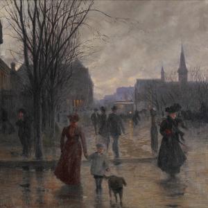 Rainy Evening on Hennepin Avenue, C.1902 by Robert Koehler