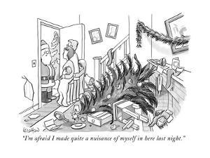 """""""I'm afraid I made quite a nuisance of myself in here last night."""" - New Yorker Cartoon by Robert Leighton"""