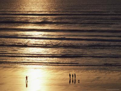A Setting Sun Casts Golden Light over a Sandy Beach