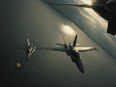 FA-18 Navy Jets in Flight over the Chesapeake Bay