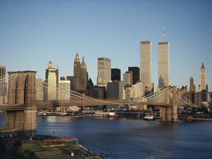 Part of the Brooklyn Bridge Leading to the World Trade Center and the Lower Manhattan Skyline by Robert Madden