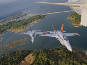 Patuxent Naval Air Strike Command Jets over Point Lookout by Robert Madden