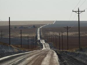 Telephone Poles Line a Dirt Road That Extends to the Horizon by Robert Madden