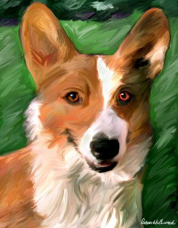 Corgie on the Lawn by Robert Mcclintock