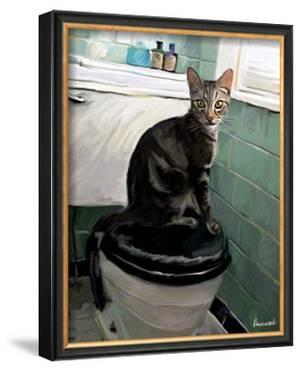 Gray Tiger Cat on the Toilet by Robert Mcclintock