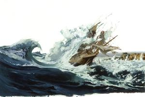 A Painting Depicts a Spanish Galleon Crashing Off Saipan Island by Robert Mcginnis