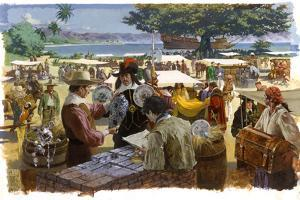 A Painting Depicts Spanish Traders in Acapulco, Mexico by Robert Mcginnis