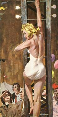 """The Girl On The Tower  - Saturday Evening Post """"Leading Ladies"""", September 24, 1960 pg.26 by Robert Mcginnis"""