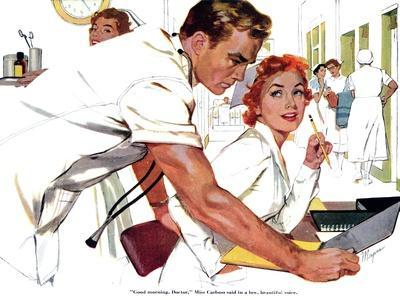 """Even Doctors Are Human  - Saturday Evening Post """"Leading Ladies"""", April 3, 1954 pg.26"""