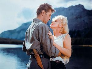 """Robert Mitchum, Marilyn Monroe. """"River of No Return"""" 1954, Directed by Otto Preminger"""