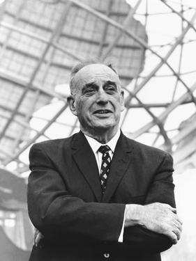 Robert Moses in Front of the New York's World Fair Signature Structure, the Unisphere