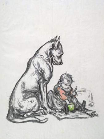 Dog and Child, Early 20th Century