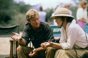 Robert Redford and Meryl Streep sur le tournage du film Out of Africa by Sydney Pollack, 1985 (phot