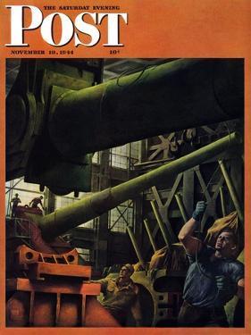 """Gun Factory,"" Saturday Evening Post Cover, November 18, 1944 by Robert Riggs"
