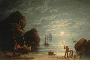 Moonlight Coastal Scene, 1836 by Robert Salmon
