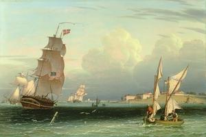 Ship Going Out, Fort Independence, Boston Harbour, 1832 by Robert Salmon