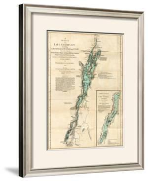 Survey of Lake Champlain, including Lake George, Crown Point and St. John, c.1776 by Robert Sayer