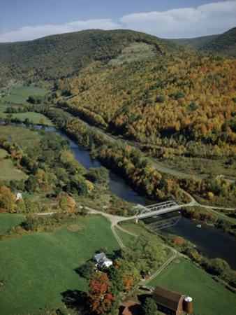 Autumn Foliage Colors Hills Along the Delaware River's West Branch by Robert Sisson