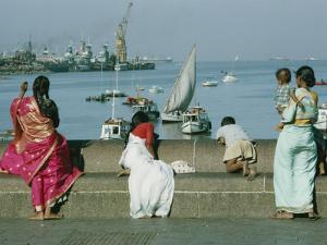 Indian People Look out over the Harbor in Bombay by Robert Sisson