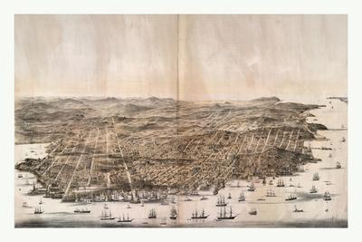 Bird'S-Eye View of San Francisco, California from Above the Bay Looking West, USA, America