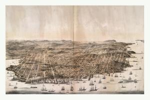 Bird'S-Eye View of San Francisco, California from Above the Bay Looking West, USA, America by Robert Swain Gifford