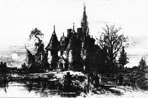 The House of Usher, Illustration from 'The Works of Edgar Allan Poe', 1884 by Robert Swain Gifford