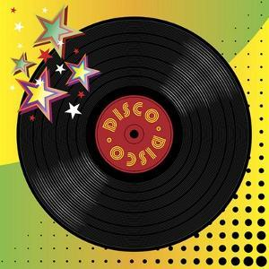 Vinyl Disco Music Plate with Art Background by Robert Voight