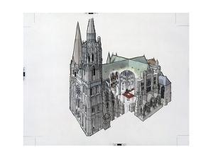 Architectural Painting and Cutaway of Chartres Cathedral by Robert W. Nicholson